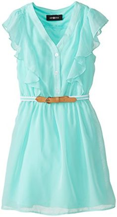 Amy Byer Big Girls' Flutter Front Dress with Belt, Mint, 7 Amy Byer http://www.amazon.com/dp/B00NGJK3F4/ref=cm_sw_r_pi_dp_nCNYub02SYEY1