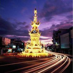 Chiang Rai Roundabout at night scene