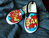Hand-painted Super Hero words on Vans shoes
