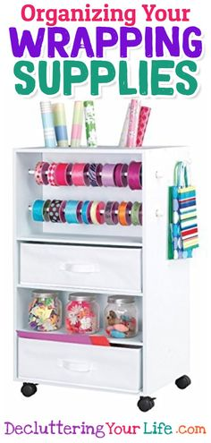 Organize Your Wrapping Supplies and Wrapping Paper • Wrapping paper storage… wrapping paper organization… oh my! These are some really clever organization ideas and tips for your wrapping paper, gift bags, gift ribbons and ALL your wrapping supplies – even for small spaces!