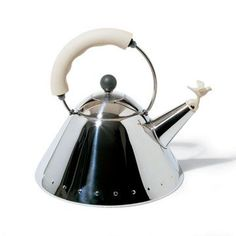 Alessi Coffee and Tea 9093 Kettle with Bird Whistle (White) - Style # 9093 WI, Modern Kettles, Contemporary Kettles, Alessi, Iittala at SWIT...