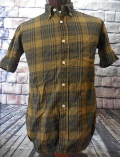 Vtg 60s Pendleton 100% Pure Virgin Wool Brown Plaid Short Sleeve Shirt Men's M…