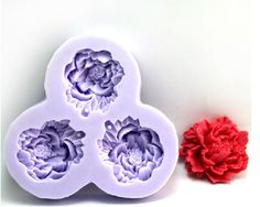 3-cavity Peony Flower Polymer Clay Resin Mold Soap Mould Silicon Mold Candle Mold on Etsy, $7.79