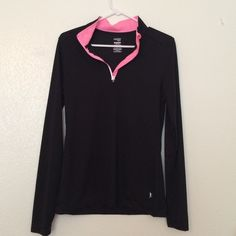 Pink and black 1/4 zip pull over Pink and black 1/4 zip pull over. Danskin Tops Sweatshirts & Hoodies