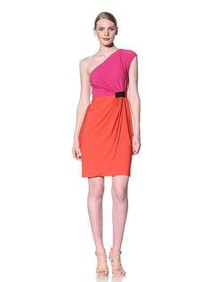 Donna Morgan One Shoulder Color Block Dress