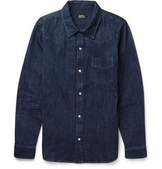 No casual wardrobe is complete without a denim shirt and this stripped-back version by A.P.C. is a classic choice. Cut for a slim fit with tapered cuffs and a neat collar, it ensures a sleek silhouette. The solid dark-indigo hue is agelessly dapper - wear yours open over a striped tee or buttoned up for a smarter appearance.