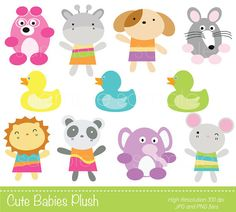 Digital Clipart  Cute Babies Plush for by YelloWhaleDesigns
