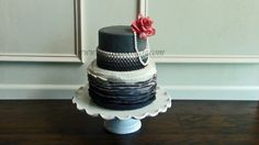 Gray Ombre Ruffle Cake