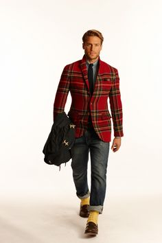 Red Plaid Jacket, Ralph Lauren -Fall 2014/2015. Men's Fall Winter Fashion.
