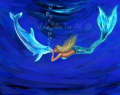 """Mermaid Mermaids ART PRINT GICLEE Woman Girl  Dolphin Art Underwater Mermaid  Decor  Mermaid Theme  """"Mermaid Dolphin Loves""""  Leslie Allen"""
