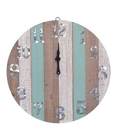 Natural Stripe Wooden Wall Clock driftwood coastal chic nautical beach cottage house decor
