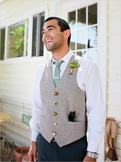 groomsman outfit ideas - love the buttons on the vest