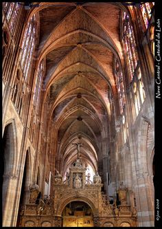 Interior Catedral de León Puerto Rico, Medieval, Cathedral Basilica, Trip Planning, Barcelona Cathedral, Building, Travel, Design, Ceilings
