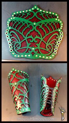 Leather bracers - love the cut outs, not a fan of the christmas colors. Knight colors woruld work