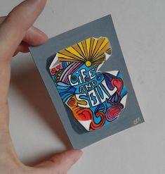 Tatty Hippie Poster painting original ACEO £5.00 folksy. aceo. miniature painting. miniatures. hippie. art. artwork original artist realism