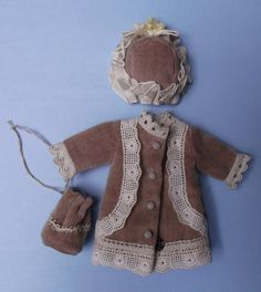 Adorable Little Velvet Outfit for Mignonette or Tiny Doll Coat Bonnet and Bag | eBay
