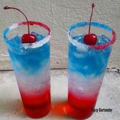 GLORY DAZE Rim glasses in coconut cream and red, white, and blue sugar crystals. Red Layer: 1 oz. (30ml) Grenadine 1/2 oz. (15ml) Lime Juice Ice White Layer: 1 oz. (30ml) Coconut Rum 4 oz. (120ml) Sobe Coconut Water Blue Layer 1/4 oz. (7ml) Blue Curacao 1/4 oz. (7ml) Coconut Vodka Garnish with a cherry