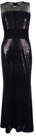 Calvin Klein Women's Illusion-Yoke Sequined Gown (4, Black)