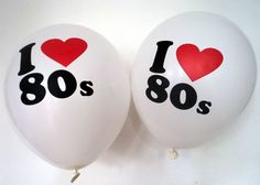 """80s Party Decoration - I Love 80s Balloons x 10 - 12"""" Balloons - Helium Quality"""