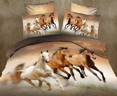 Alicemall Queen Size Horse Bedding Set 4 Piece Galloping Horses Polyester Duvet Cover Sets, 4 PCS Brown Color Horse Bedding, No Comforter (Queen) 3d Bedding Sets, Cotton Bedding Sets, Queen Bedding Sets, Comforter Sets, King Comforter, Teen Bedding, Comforter Cover, Queen Size Bed Sets, King Size