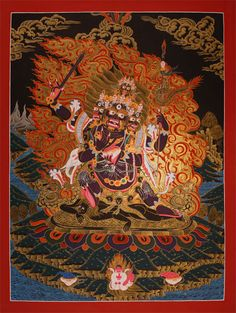 https://www.l-seifert.de/bilder-religionen/Avalokiteshvara.html Mahakala. Thangka of a seldom shown 4-armed form of the Dharmapala Mahakala (nagpo gonpo).