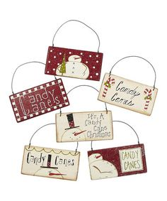 Take a look at this Candy Cane Snowman Sign Ornament Set by Collins on #zulily today!