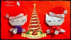 Hermosa Hello Kitty navideña de Origami | Manualidades