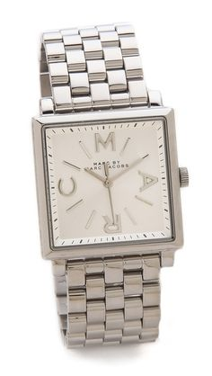 => Marc by Marc Jacobs Truman Watch |  Decent Price  					Logo letters detail the square dial on this Marc by Marc Jacobs watch. Link band. Hinged-snap clasp.Water resistant to 50 meters.2-year manufacturer warranty.Imported, China.MEASUREMENTSDial: 1in / 2.5cmBand: 0.75in / 4.5cmDiameter: 2.5in / 6.5cm 				 Buy Cheap until you click to see price