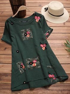 Newchic - Fashion Chic Clothes Online, Discover The Latest Fashion Trends Mobile Elegant Dresses, Casual Dresses, Fashion Dresses, Blouse Vintage, Vintage Dresses, Camisa Formal, Kurta Designs, Embroidery Blouses, Flower Embroidery