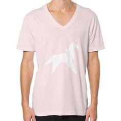 Origami Unicorn V-Neck (on man) Shirt