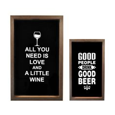 2 quadros porta rolhas e tampinhas: all you need is love and a little wine e good people drink good beer