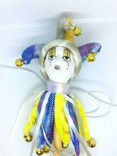 Vintage Joker head Clown Man Figures Puppet Theater Hand puppet Bells Baby purr | eBay