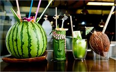 vodka punch in a watermelon, rum and coconut, rum with caramelised bananas