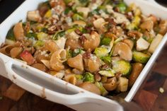 baked brussels sprouts, blue cheese and pasta dish