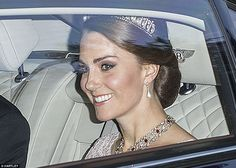 Kate, 35, looked sensational in a dusty pink custom-made Marchesa gown and donned a tiara ...