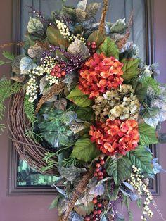 Autumn Wreath, Fall Wreath, Hydrangea Wreath, Grapevine Wreath, Door Wreath