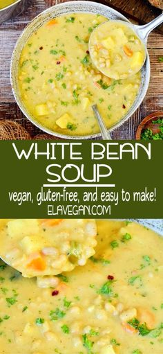 Creamy vegan white bean soup with potatoes. This vegetarian chowder is a light dinner, side dish which is, dairy-free, healthy, gluten-free & easy to make. Bean Soup Recipes, Healthy Soup Recipes, Vegetarian Recipes, Healthy Soup Vegetarian, Vegan Soup, Gluten Free Soup, White Bean Soup, Frijoles, Healthy Vegetarian Recipes