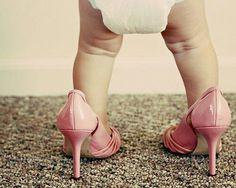 Mackenna in mummy's wedding shoes.. Adorable