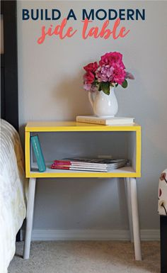 Build this modern side table for ONLY $15! With just a few supplies and a pop of color you can add quite the flare to any room.