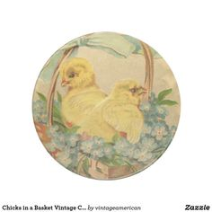 Chicks in a Basket Vintage Coaster