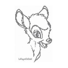 Cross stitch pattern Bambi vintage sketch by LeRayonDeSoleil