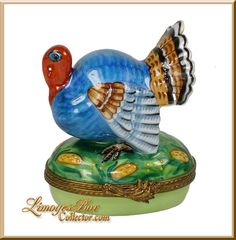 Blue Turkey with Cornstalk Limoges Box by Beauchamp, www.LimogesBoxcollector.com, Thanksgiving collectibles, gifts, Holiday Limoges Boxes
