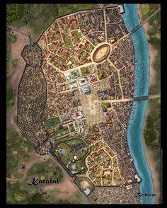 A full-color, exquisitely detailed map of the city of Katalál, the starting location of Jeff Dee's Béthorm: Plane of Tékumel RPG from UNIgames, by expert fantasy cartographer Alyssa ...