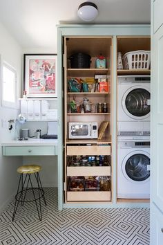 Mint Green Cabinets with Pull Out Pantry Drawers - Contemporary - Laundry Room Utility Cupboard, Pantry Laundry Room, Tiny Laundry Rooms, Laundry Room Cabinets, Laundry Room Design, Kitchen Pantry, Laundry Area, Kitchen Storage, Built In Kitchen Cupboards