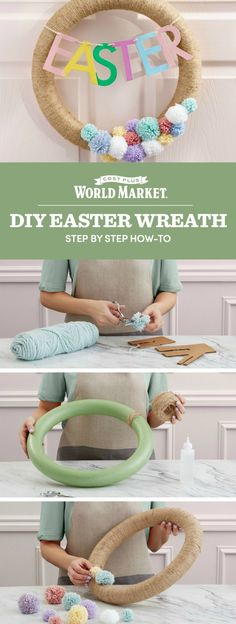Gather your helper bunnies and bring your creativity to this fun DIY project! We'll show you how to make an Easter Wreath in 6 simple steps. #DiscoverWorldMarket #Easter #Craft