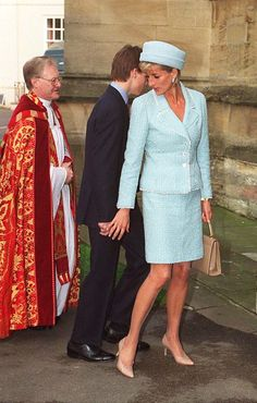Diana, Princess of Wales with Prince William and Prince Harry at Prince William's confirmation. March 9, 1997
