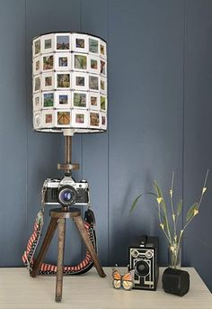 Vintage Camera Lamp With DIY 35mm Slide Shade : 14 Steps (with Pictures) - Instructables Vintage Camera Decor, Vintage Lamps, Furniture Update, Furniture Projects, Diy Furniture, Spider Lamp, Ikea Lamp, Ikea Hackers, Tripod Lamp