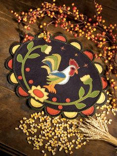 Autumn Rooster penny rug. Gram would have loved it!
