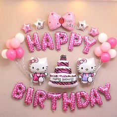 Hello Kitty Kids Happy Birthday Balons Party Decoration Set Balloons Foil Pink and Blue Globes Decor Party Supplies Baloes Hello Kitty Birthday Theme, Birthday Wishes For Kids, Hello Kitty Themes, Happy Birthday Balloons, Happy Birthday Images, Birthday Parties, Birthday Quotes, Hello Kitty Cake, Birthday Ideas