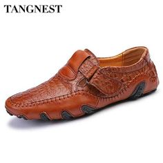 Tangnest Brand Men Genuine Leather Flats 2017 New Casual Boat Shoes Male Leisure Dress Shoes Man Soft Loafers Size 38~47 XMP742